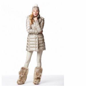 Shiny Beige Down Winter Jacket Size M